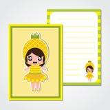 Śliczna papier notatka z ślicznej ananasowej dziewczyny wektorową kreskówką dla dzieciaka papieru royalty ilustracja