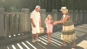Śliczna para seniory z wnukiem zdjęcie wideo