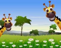 Śliczna pary żyrafy kreskówka z krajobrazowym tłem ilustracja wektor