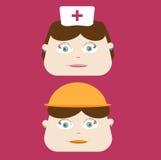 Śliczna pielęgniarka i pracownik budowlany Obrazy Stock