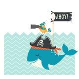 Śliczna pirat karta ilustracja wektor
