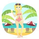 Śliczna Plażowa dziewczyna Fotografia Royalty Free