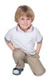 Śliczna preschool chłopiec na bielu fotografia stock