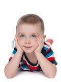 Śliczna preschool chłopiec na bielu obraz royalty free