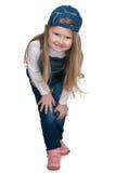 Śliczna preschool dziewczyna przeciw bielowi fotografia stock