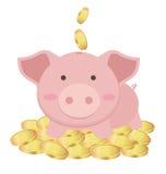 Śliczna prosiątko banka pozycja Na Wiele Złocistych monetach, oszczędzania pojęcie royalty ilustracja