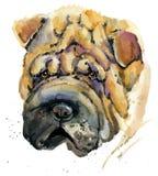 Śliczna psia akwareli ilustracja ilustracja wektor