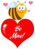 Śliczna pszczoła czerwony serce Zdjęcie Royalty Free