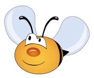 Śliczna pszczoła odizolowywająca na bielu tła postać z kreskówki zuchwałych ślicznych psów szczęśliwa głowa odizolowywał uśmiechu Fotografia Stock