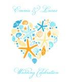 Śliczna ręka rysować rozgwiazdy w kierowym kształcie i skorupy royalty ilustracja