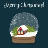 Śliczna ręka rysująca śnieżna kula ziemska z domem inside Wesoło boże narodzenia co ilustracji