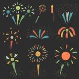 Śliczna ręka rysująca doodle fajerwerku kolekcja ilustracji