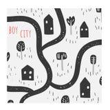 Śliczna ręka rysująca doodle ilustracja z domami, drzewa, ścieżka, droga, trawa, park, natura elementy royalty ilustracja