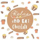 Śliczna ręka rysująca doodle pocztówka z czekoladowym sztandarem Zdjęcia Royalty Free