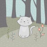 Śliczna ręka rysująca karta z kotem i kwiatami w lesie ilustracja wektor