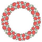 Śliczna ręka rysująca kreskówka stylu jabłka czerwona rama Obrazy Stock