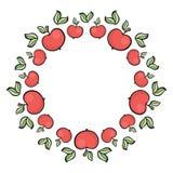 Śliczna ręka rysująca kreskówka stylu jabłka czerwona rama Zdjęcie Royalty Free