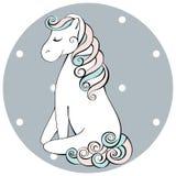 Śliczna ręka rysująca sadzający konia Wektorowa doodle ilustracja Obrazy Stock