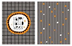 Śliczna ręka Rysująca Szczęśliwa Halloweenowa wektor karta i Nieregularny wzór ilustracja wektor