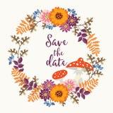 Śliczna ręka rysujący ślubu save daktylowa karta z wiankiem robić kwiaty, jagody, dąb opuszcza i komarnicy amanita Jesień Obraz Stock