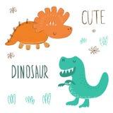 Śliczna ręka rysujący dinosaury ustawiający Wektorowy druk ilustracji