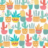 Śliczna ręka rysujący doodle kaktusa pastelowy wzór bezszwowy ilustracja wektor