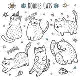 Śliczna ręka rysujący doodle koty royalty ilustracja