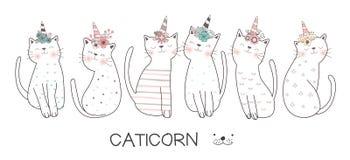 Śliczna ręka rysujący dziecko kota kreskówki styl wektor royalty ilustracja
