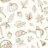 Śliczna ręka rysujący jesień bezszwowy wzór Zdjęcie Royalty Free