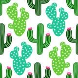 Śliczna ręka rysujący kaktusowy bezszwowy wzór ilustracja wektor