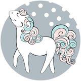 Śliczna ręka rysujący koń Wektorowa doodle ilustracja Obrazy Stock