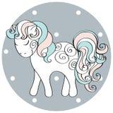 Śliczna ręka rysujący koń Wektorowa doodle ilustracja Obraz Royalty Free