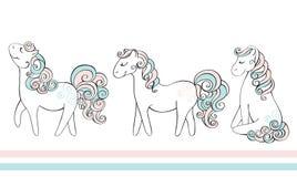 Śliczna ręka rysujący konie Wektorowa doodle ilustracja Obraz Royalty Free