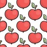 Śliczna ręka rysujący kreskówka stylu czerwony jabłczany bezszwowy wzór Fotografia Royalty Free