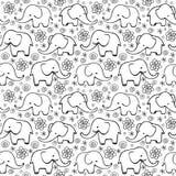 Śliczna ręka rysujący słonie Monochromatyczny wektorowy bezszwowy wzór Obrazy Royalty Free