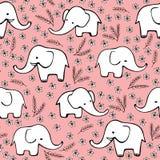 Śliczna ręka rysujący słonie Monochromatyczny wektorowy bezszwowy wzór Zdjęcia Stock