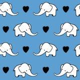 Śliczna ręka rysujący słonie Monochromatyczny wektorowy bezszwowy wzór Zdjęcie Stock