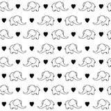 Śliczna ręka rysujący słonie Monochromatyczny wektorowy bezszwowy wzór Fotografia Stock