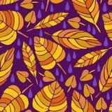 Śliczna ręka rysujący spadków liści ornament Kolorowy wektorowy bezszwowy wzór Zdjęcie Stock
