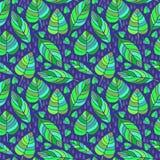Śliczna ręka rysujący spadków liści ornament Kolorowy wektorowy bezszwowy wzór Fotografia Stock