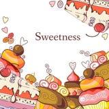 Śliczna rama z słodkimi babeczkami Zdjęcia Stock