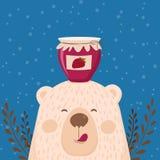 Śliczna retro ręka rysująca karta jako śmieszny niedźwiedź z słoju dżemem Dla dzieciaków menu, zima wakacje, urodziny, boże narod ilustracji