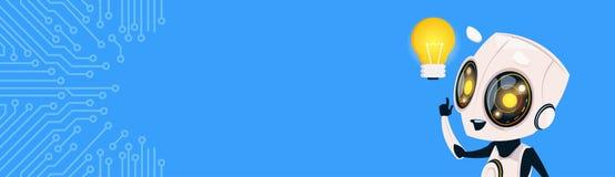 Śliczna robota chwyta żarówki gadki larwa Nad obwodu tłem Horyzontalny Bannner Z kopii przestrzenią ilustracja wektor