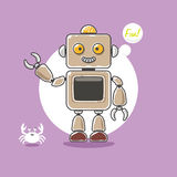 Śliczna robota i kraba fala ręka na purpurowym tle troszkę Fotografia Stock