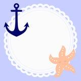 Śliczna round dziecko rama w nautycznym stylu z kotwicą i rozgwiazdą Zdjęcia Royalty Free