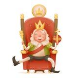 Śliczna rozochocona królewiątko władca na tronowej koronie na kierowniczej władzie i berło w ręki postać z kreskówki 3d realistyc royalty ilustracja