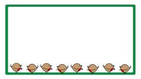 Śliczna rudzików bożych narodzeń rama ilustracja wektor