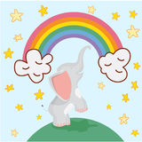 Śliczna słoń kreskówka na tęczy tle i gwiazda wektoru ilustraci Zdjęcia Royalty Free