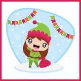 Śliczna Santa elfa dziewczyna przynosi Xmas torbę za kolorową chorągiewki kreskówką ilustracja wektor