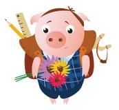 Śliczna smutna uczniowska świnia z plecakiem ilustracji